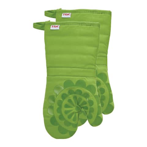 T-fal Textiles 2 Pack Print Silicone Medallion Cotton Twill Oven Mitt Set