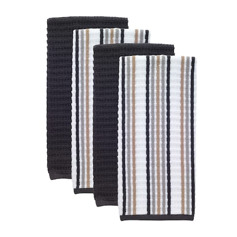 T-fal Textiles 4 Pack Solid & Stripe Waffle Terry Kitchen Dish Towel Set