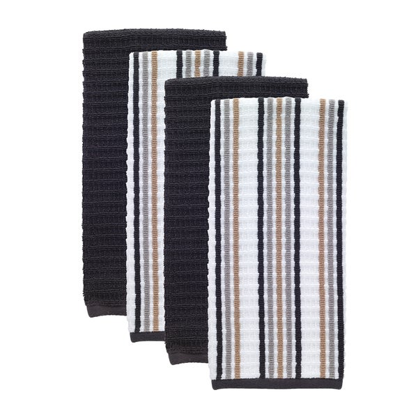 T Fal Textiles 4 Pack Solid Stripe Waffle Terry Kitchen Dish Towel Set