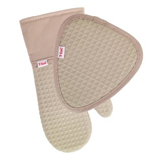 T-fal Textiles 2 Pack Soft Flex Waffle Silicone Pot Holder & Oven Mitt Set (Option: Sand)