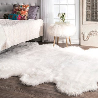 nuLOOM Faux Flokati Sheepskin Soft and Plush Cloud White Octo Shag Rug (6' x 7') - 6' x 6' 11