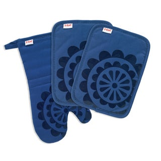T-fal Textiles 3 Pack Print Silicone Medallion Cotton Twill Pot Holder & Oven Mitt Set