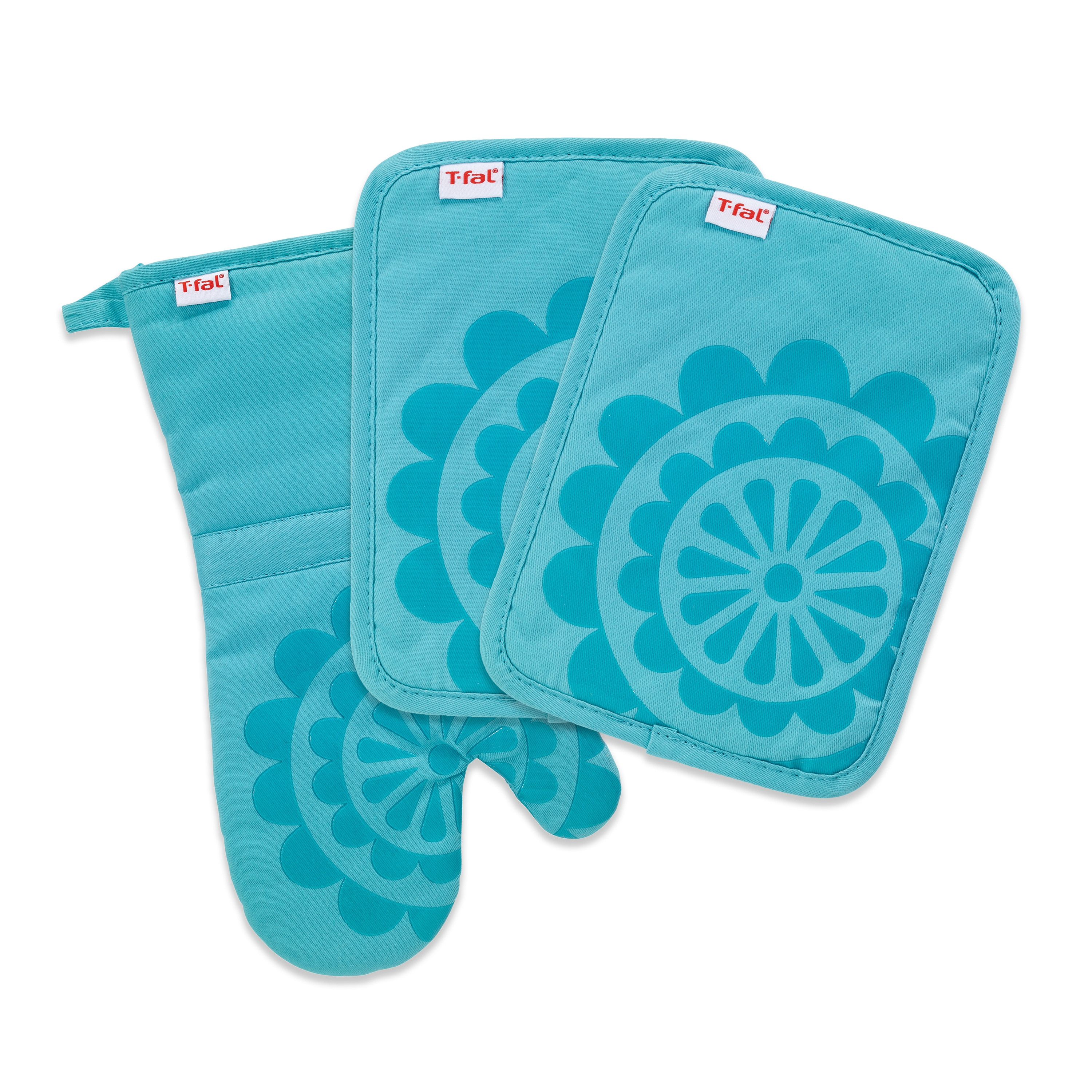 T Fal Textiles 3 Pack Print Silicone Medallion Cotton Twill Pot Holder Oven Mitt Set Overstock 15872045