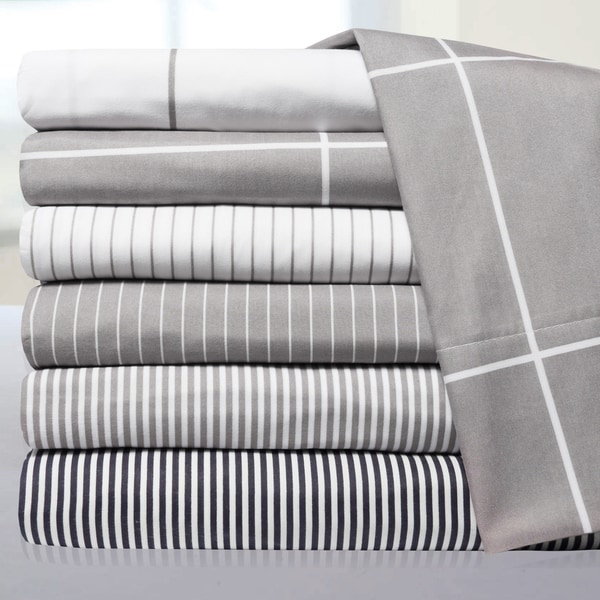 6 Piece Loft Collection Modern Classic Pinstripe Bed Sheet Sets