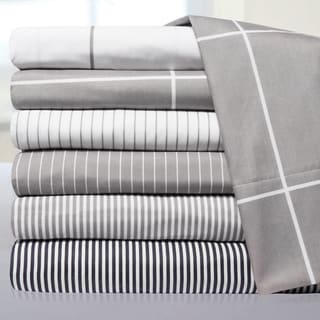 6 Piece Loft Collection Modern Classic Pinstripe Sheet Sets