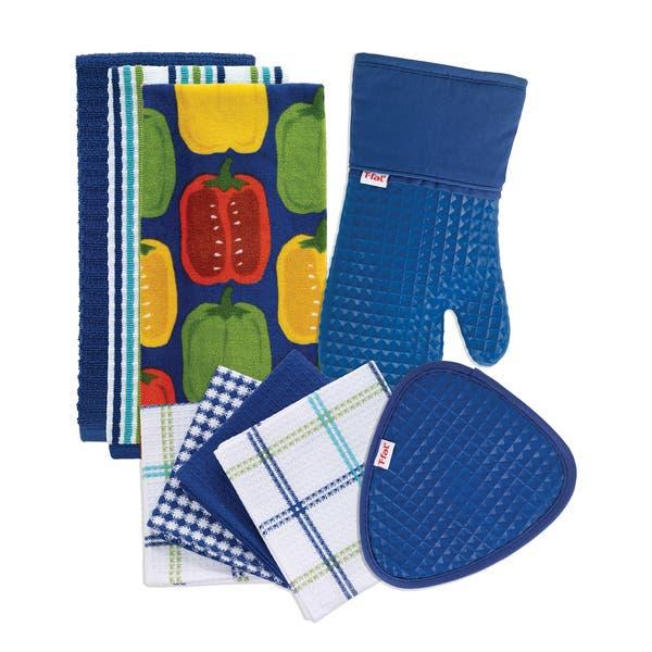 T Fal Textiles 9 Pack Kitchen Textile Set Kitchen Towels Dish Cloths Pot Holder Oven Mitt Overstock 15872050