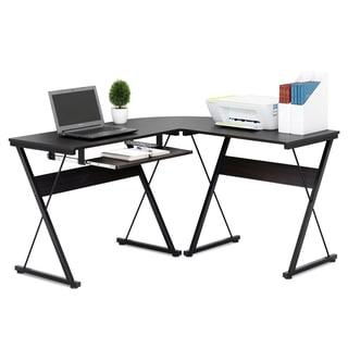 Furinno FCG126EX Besi Espresso Metal Frame L-shape Computer Desk