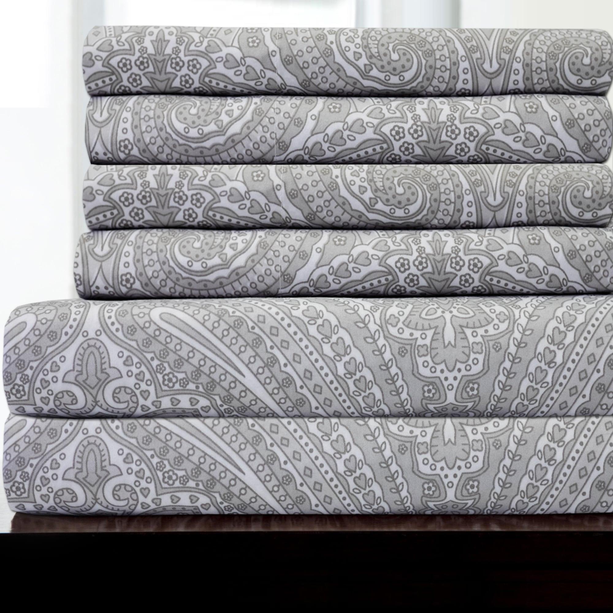 6 Piece Paisley Print Bedroom Bed Sheet Set Grey On Sale Overstock 15872056
