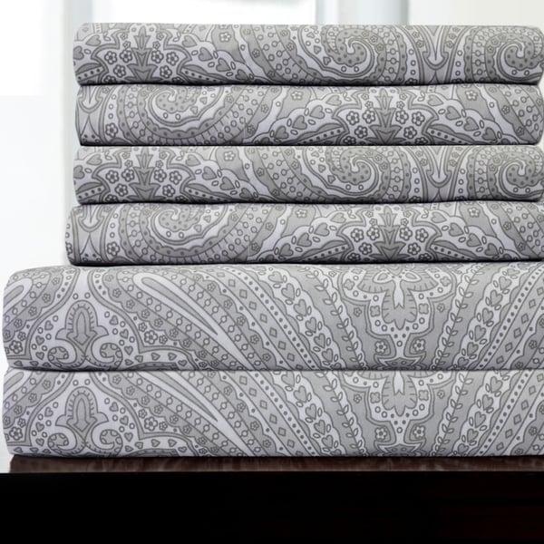 Paisley Print Grey 6-piece Bedroom Sheet Set