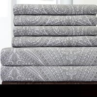 6 Piece Paisley Print Bedroom Sheet Set- Grey