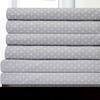 6 Piece Dot Print Bedroom Sheet Set- Grey