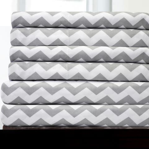 6 Piece Chevron Stripe Print Bedroom Bed Sheet Set- Grey