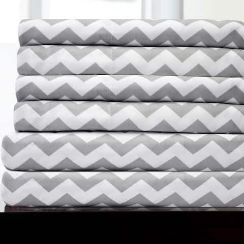 6 Piece Chevron Stripe Print Bedroom Sheet Set- Grey