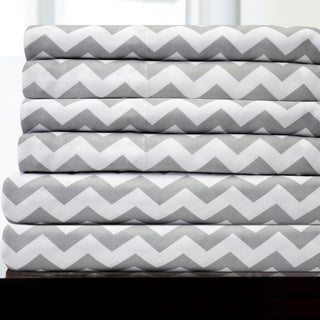 6 Piece Chevron Stripe Print Bedroom Sheet Set- Grey