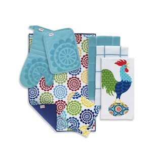 T-fal Textiles 8 Pack Kitchen Textile Set: Kitchen Towels, Dish Cloths, Pot Holder, Oven Mitt & Dish Drying Mat