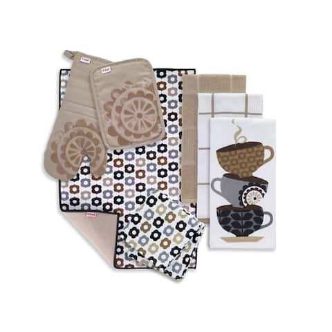 T-fal Textiles 8 Pack Kitchen Textile Set: Kitchen Towels, Dish Cloths, Pot Holder, Oven Mitt & Dish Drying Mat