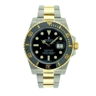 Pre-Owned Rolex Men's Submariner 116613 Stainless Steel Black Dial Steel and Gold 40mm Watch 116613