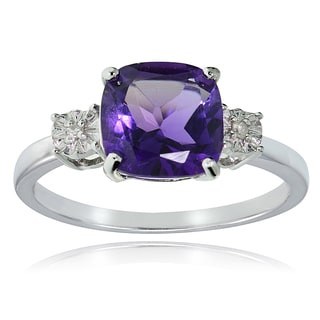 Glitzy Rocks Sterling Silver African Amethyst and Diamond Accent Cushion-cut Ring