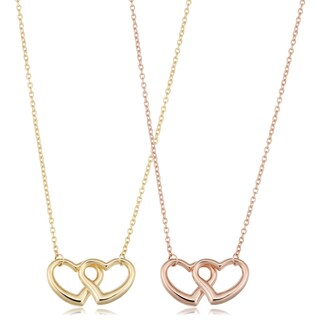 Fremada 14k Gold Double Heart Necklace (17 inches)