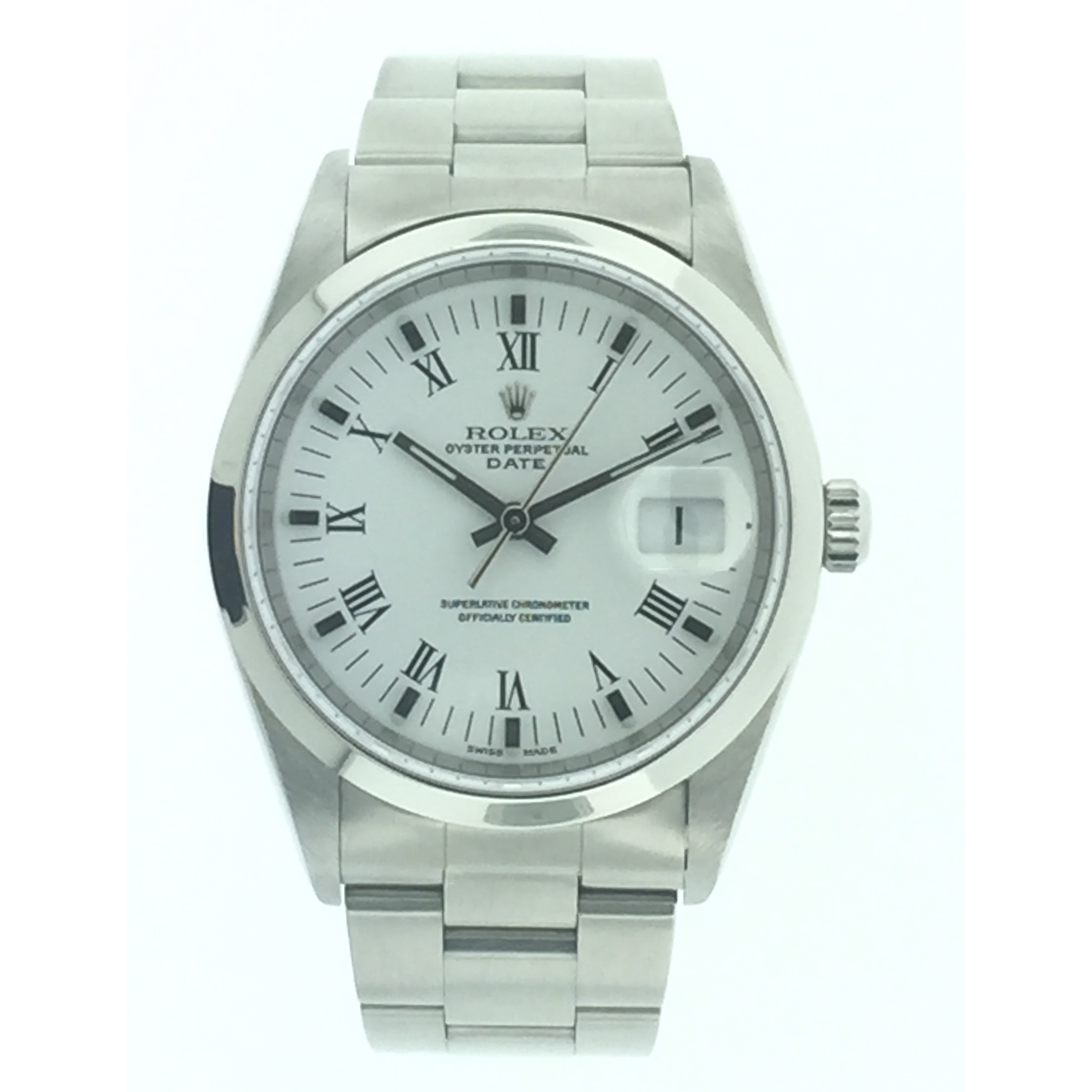 Rolex Mens Stainless Steel Date Watch w/Blue Stick Dial 1...