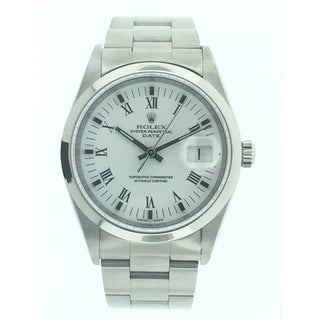 Pre-Owned Rolex Date, Unisex, 15200, Stainless Steel, White Roman Dial, 34mm Watch