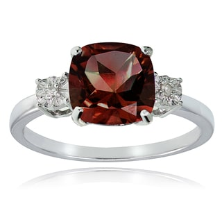 Glitzy Rocks Sterling Silver African Garnet and Diamond Accent Cushion-cut Ring