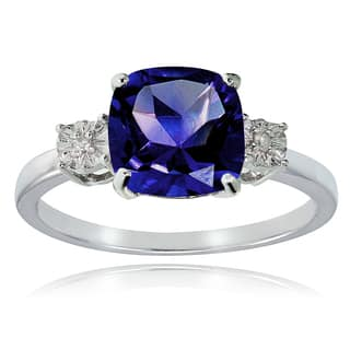 Glitzy Rocks Sterling Silver Created Blue Sapphire and Diamond Accent Cushion-cut Ring