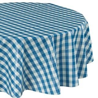 """Ottomanson Vinyl Blue Checkered Design Indoor & Outdoor Tablecloth Non-Woven Backing 55"""" Round - 55""""round"""