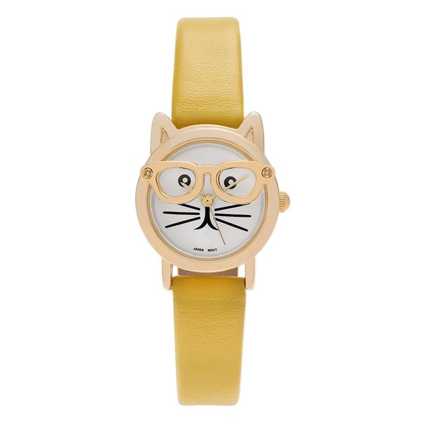 f894661d46e ... Women s Watches. Geneva Platinum Women  x27 s Goldtone Cat Wearing  Glasses Faux Leather Strap Watch -