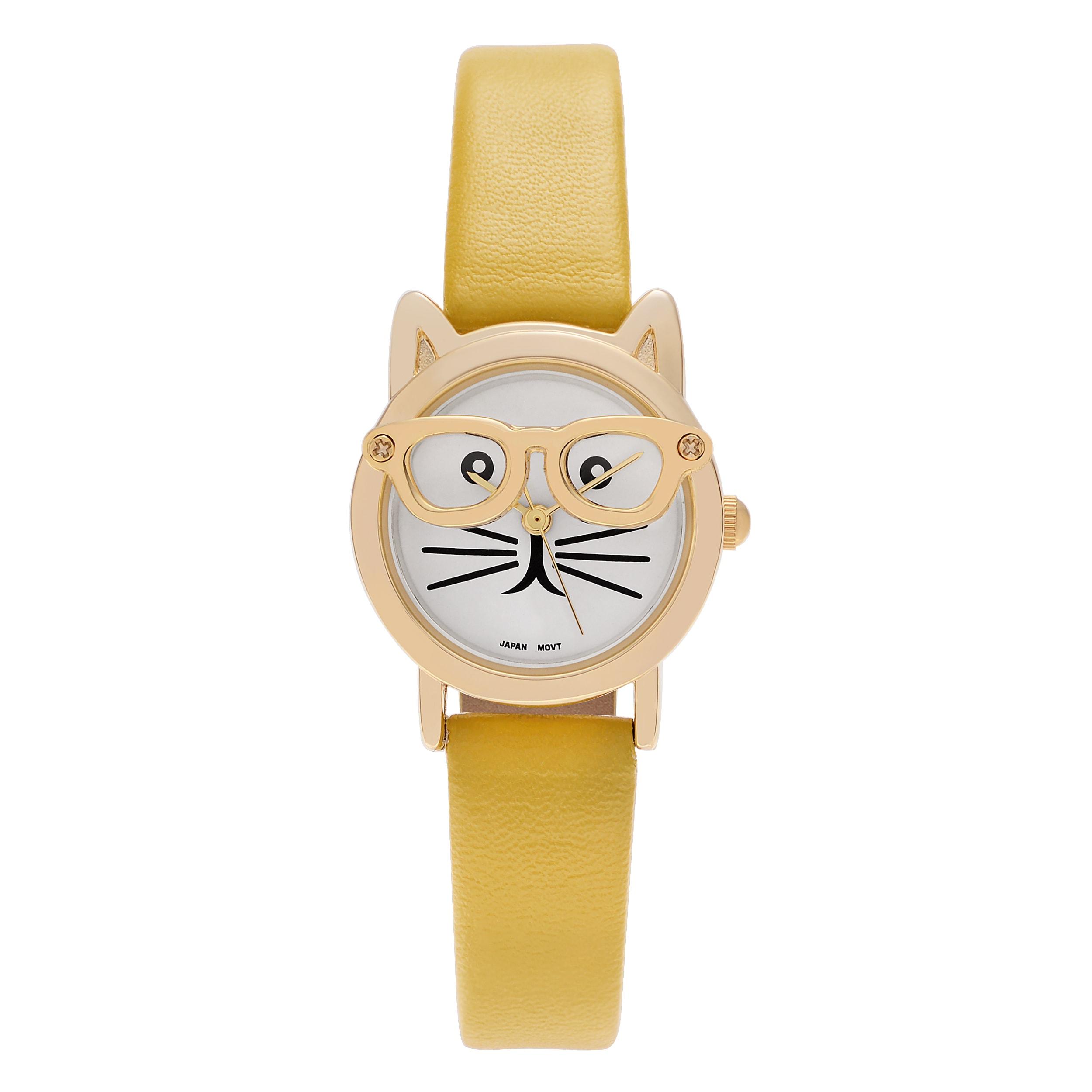 Geneva Women's Goldtone Cat Wearing Glasses Faux Leather ...
