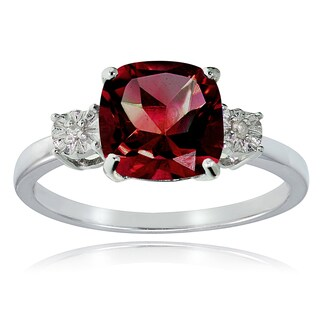 Glitzy Rocks Sterling Silver Created Ruby and Diamond Accent Cushion-cut Ring