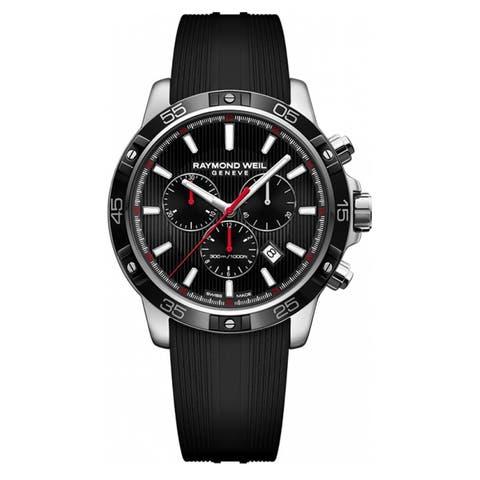 55a87d124 Raymond Weil Men's 8560-SR1-20001 'Tango' Chronograph Black Rubber Watch