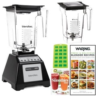 Blendtec Total Blender with WildSide Jar + Blendtec FourSide Jar + 2 Blender Recipe Books and Ice Cu