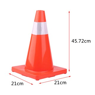 18-inch PVC Road Traffic Reflective Safety Cones Warning Sign (Box of 4)