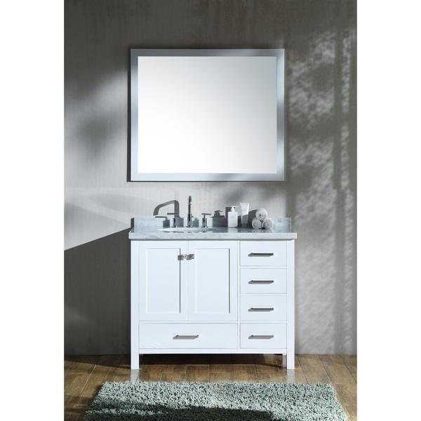 Shop Ariel Cambridge White 43-inch Left Offset Single-sink ...