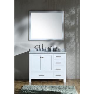 Ariel Cambridge White 43-inch Left Offset Single-sink Vanity Set