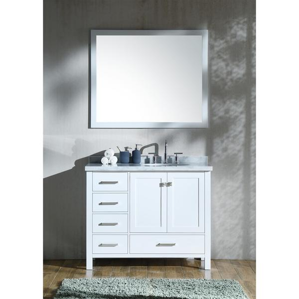 Shop ariel cambridge white 43 inch right offset single - Bathroom vanity with right offset sink ...