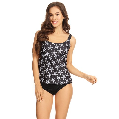 Famous Maker Black Seastar Womens Two-Piece Over The Shoulder Tankini Set
