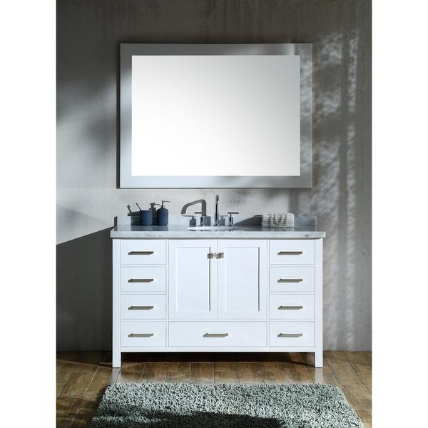Ariel Cambridge White 55 Inch Single Sink Vanity Set