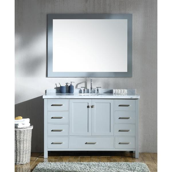 Shop Ariel Cambridge Grey Wood And Marble 55 Inch Single Sink Vanity