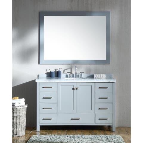 Ariel Cambridge Grey Wood and Marble 55-inch Single-sink Vanity Set