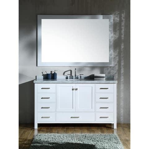 Ariel Cambridge White 61-inch Single-sink Vanity Set