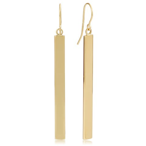 14k Yellow, White or Rose Gold Bar Drop Earrings (4mm, 2 inches)