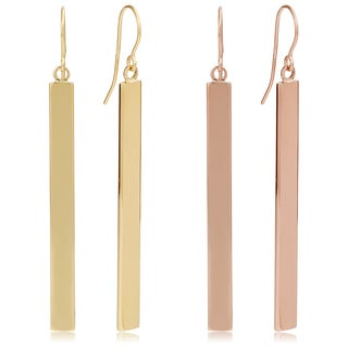 Fremada 14k Gold Bar Drop Earrings (4mm, 2 inches)