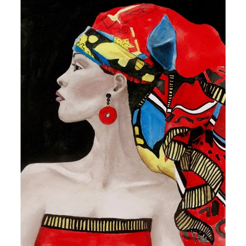 'African Queen' Painting Print on Wrapped Canvas - Red