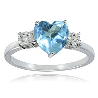 Glitzy Rocks Sterling Silver Blue Topaz and Diamond Accent Heart Ring