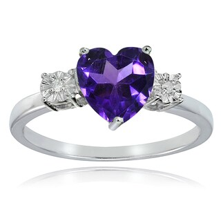 Glitzy Rocks Sterling Silver African Amethyst and Diamond Accent Heart Ring