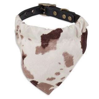 MuttNation Fueled by Miranda Lambert Brown Cowhide Print Bandana Custom Fit Dog Collar