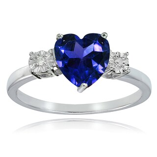 Glitzy Rocks Sterling Silver Created Blue Sapphire and Diamond Accent Heart Ring