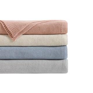 Laura Ashley Acrylic Knit Blanket with Metallic Thread